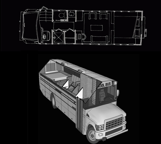 BUS 15-19 HOTEL ON WHEELS bus retrofit plan and view
