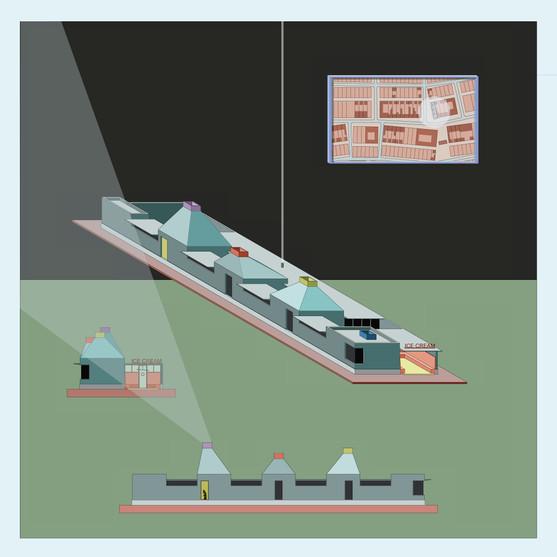 15-07 THREE LADIES location plan | facades | dimetric view
