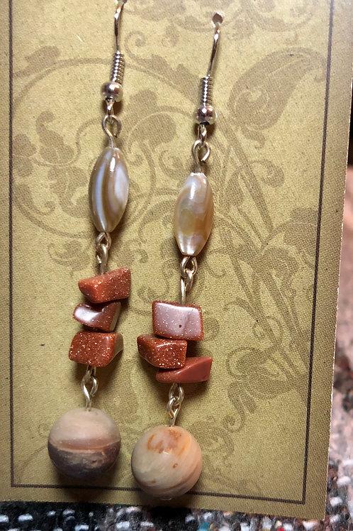 Abalone, Sandstone, & Wood Agate Earrings