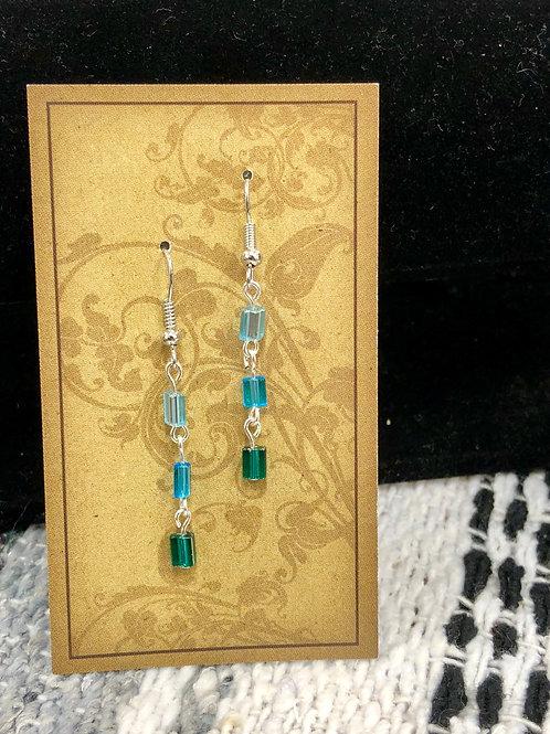 Blue & Green Glass Bead Earrings