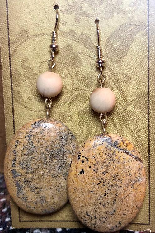 Jasper & Wood Agate Earrings