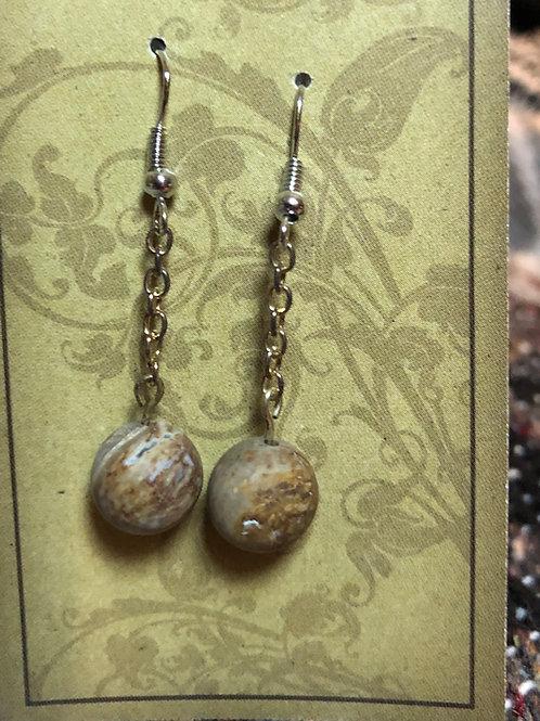 Wood Agate Chain Earrings