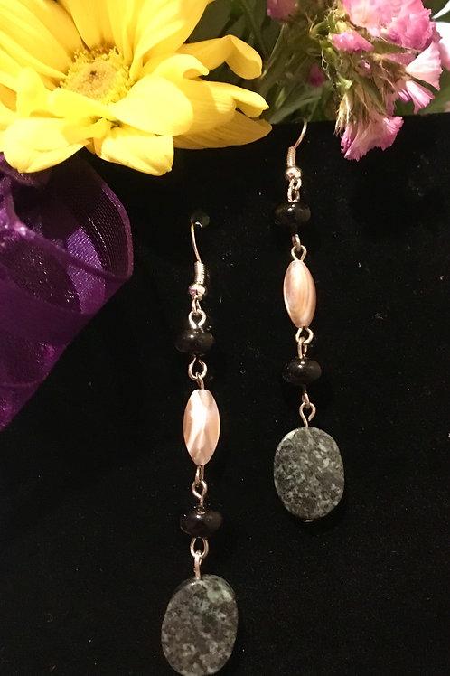 Jasper, Onyx, & Shell Earrings