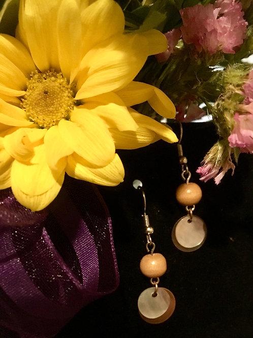 Abalone & Wood Earrings