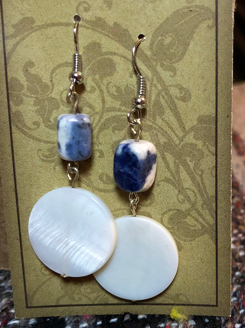 Sodalite & Shell Earrings
