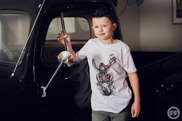 """Tshirt gamme ENFANTS unisexe blanc """"Monkey Chopper"""" en coton bio"""
