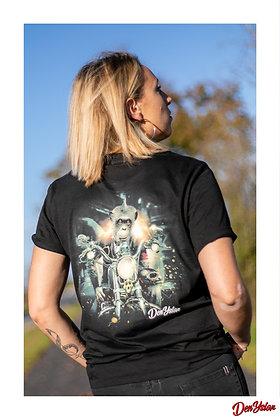 """Tshirt unisexe noir """"L'enfant sauvage"""" en coton bio - illustration à l'arrière"""