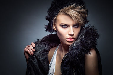 Model with Vest and Red Lips