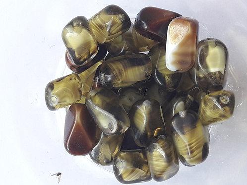 10 perles oblongues en verre torsadé et rayé en transparence