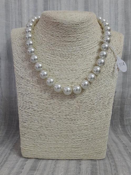 collier perles rondes nacre sur verre Ø12 41/48cm fermoir argenté mousqueton et