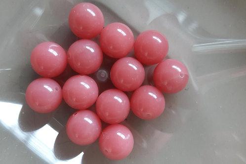 13 perles rose en verre