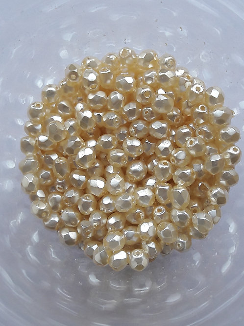 115 perles verre de bohême Ø6 nacre