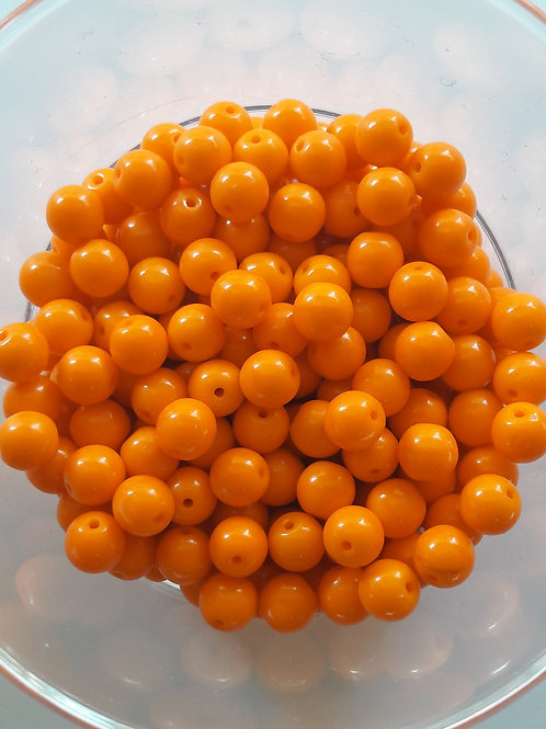 22 perles en verre Ø5.5 orange vif