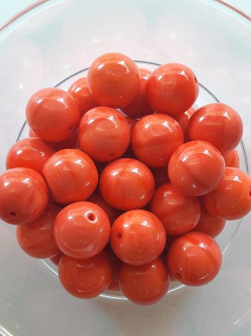 3 perles en verre couleur corail Ø13