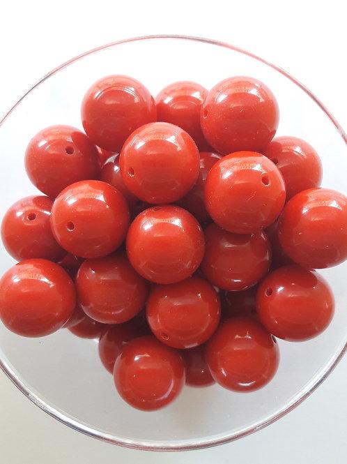 5 perles rouge tomate Ø14 en polymère