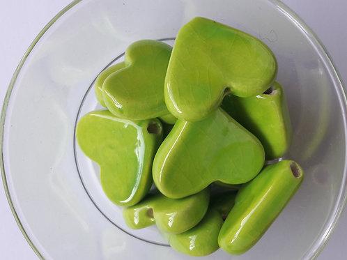 coeur céramique 23*30 vert lime