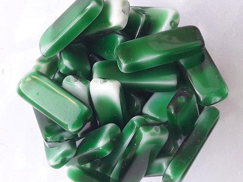 7 tubes applatis vert bouteille flammé blanc 20*7 en verre