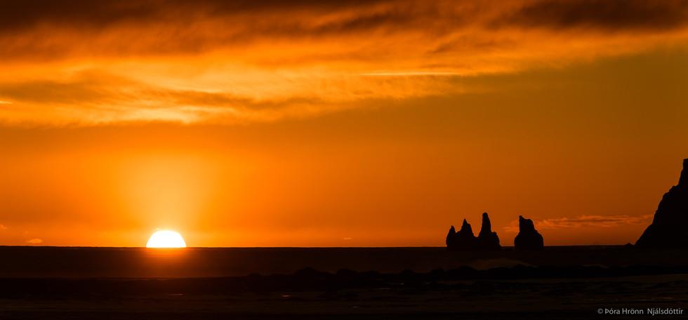 Sunset in Vík, Iceland