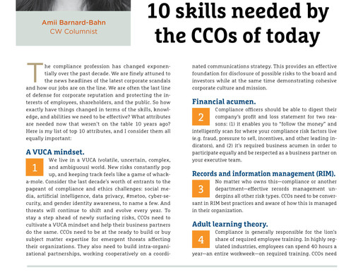 10 Skills Needed By The CCOs of Today