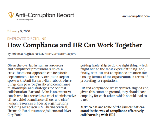 How Compliance and HR Can Work Together