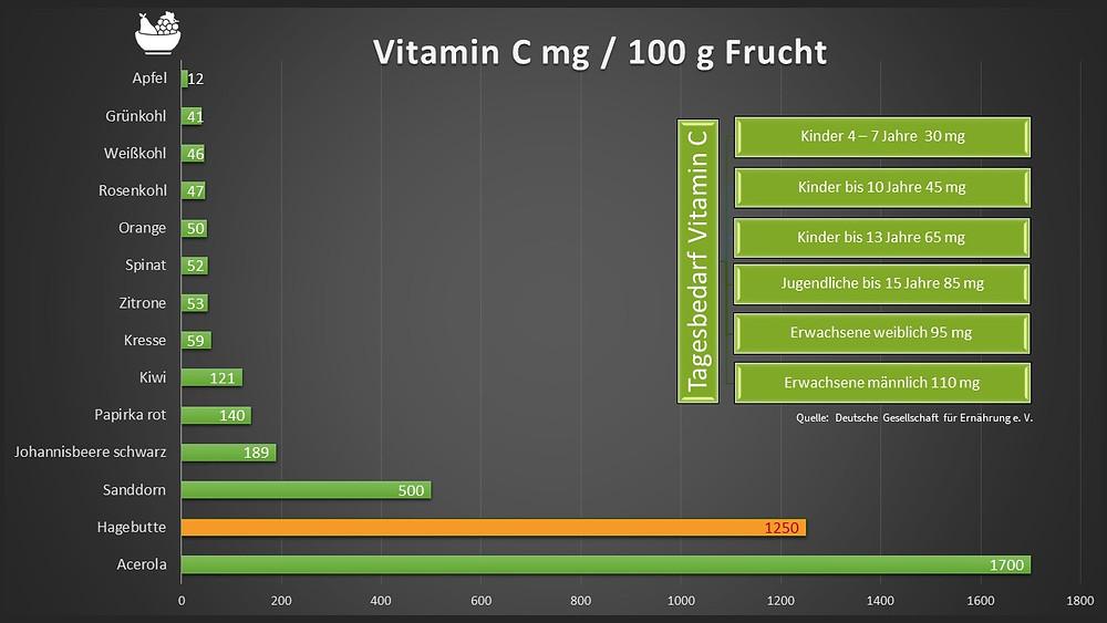 Hagebutte Vitamin C im Vergleich zu anderen Obst- und Gemüsesorten