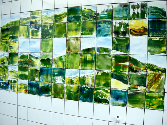 Hand Painted Ceramic Tile Installationess is More landscape Subdivision Seriesnmore Bay Toilets mural 2009 Gayl
