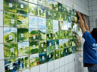 Hand Painted Ceramic Tile Installation