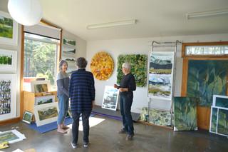Gaylene and visitors Muriwai Arts Open Studio 2019