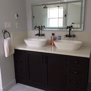 Espresso Vanity - Double Bowl Sinks, Vin