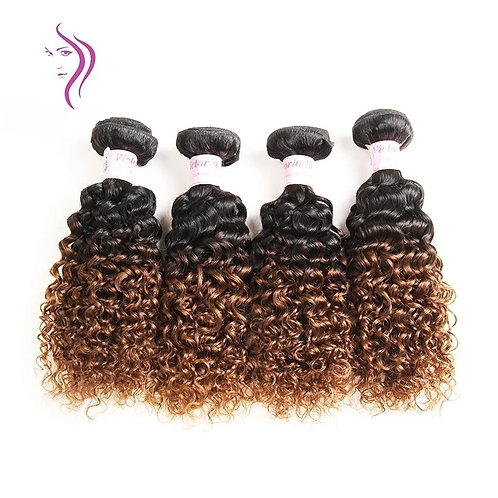 Brazilian Ombre 1B 30 Kinky Curly 5 Bundles With Human Hair Applique