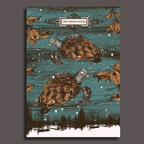 """""""Two Turtle Doves"""" Christmas, pack of 3 cards"""