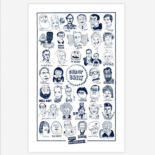 'Great Brits' Tea Towel