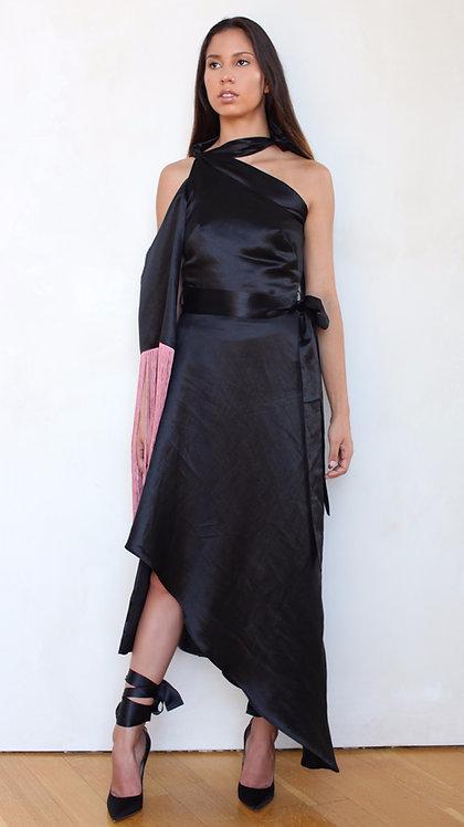 Little Black Fringe Dress (Dusty Rose Pink fringe)