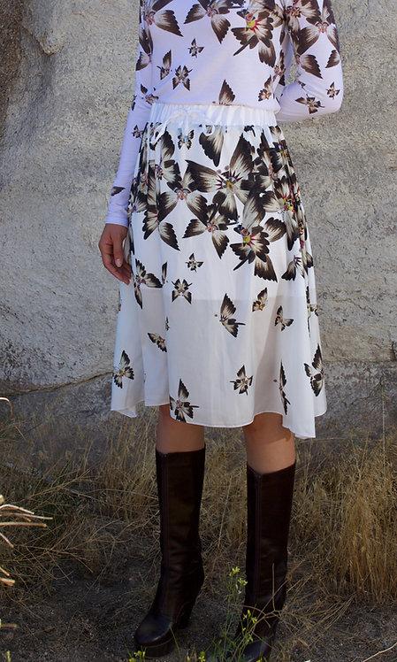 White Butterfly midi skirt