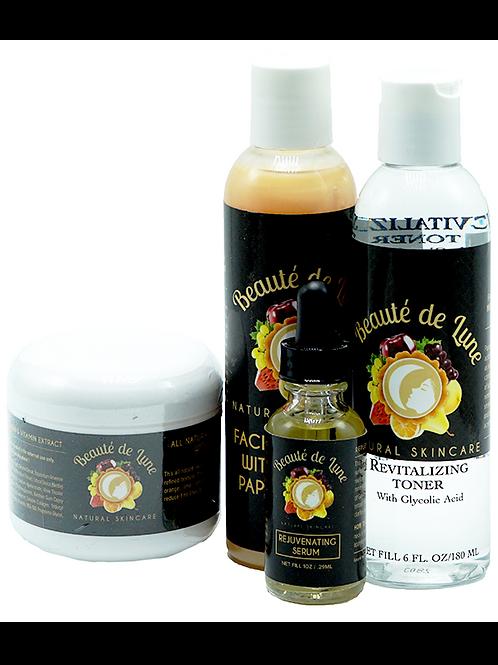 Beauté de Lune Pack – Papaya Cleanser + 4 oz Cream + Toner + Rejuvenating Serum