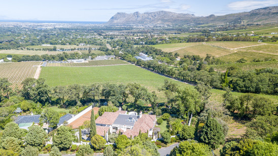 Aerial image taken of luxurious property in located in Cape Town for Real Estate agent marketing to auction the property