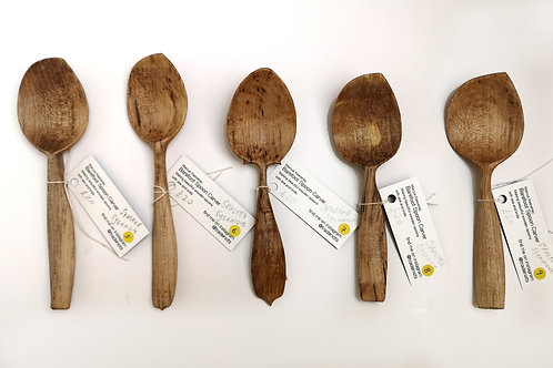 various hand carved spoons