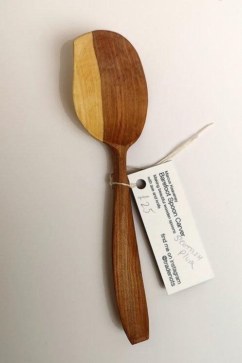 Dessert sized serving spoon, Scottish plum wood