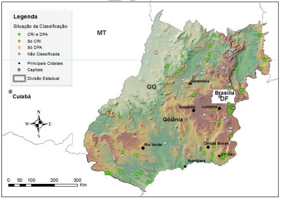 Mapa de barragens em Goiás