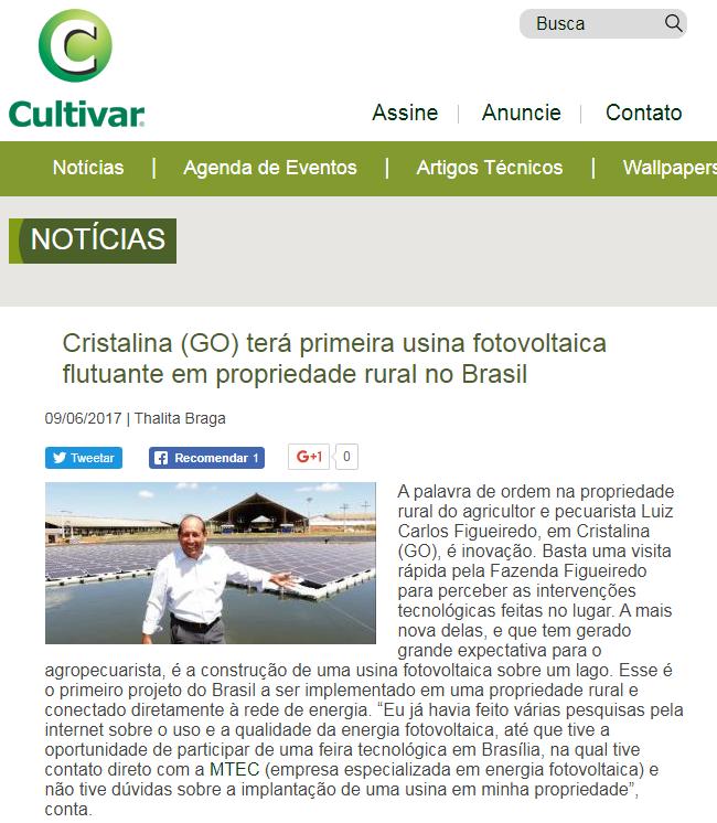 Matéria sobre primeira usina fotovoltaica flutuante do Brasil no site da Revista Cultivar