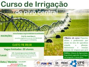 UFG abre inscrições para curso de irrigação por pivô central, gotejamento e paisagismo