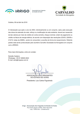 Irrigo convoca produtores rurais para ação coletiva contra a Enel