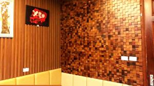 Tấm ốp tường 3D mosaic gỗ tự nhiên trang trí nội thất phòng ngủ. Công trình: Thanh Trì - Hà Nội