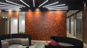 Gỗ ốp vách mosaic 3D trang trí văn phòng