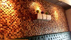Gạch gỗ ốp tường mosaic 3D trang trí quán cà phê. Công trình: Café Tây Hồ - Hà Nội
