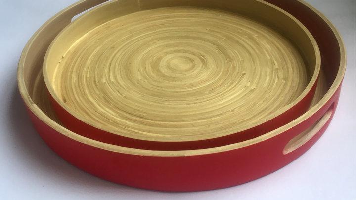 Khay trà 100% tre tự nhiên phong cách Nhật Bản - Tròn/Đỏ