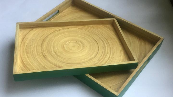 Khay uống trà 100% tre tự nhiên phong cách Nhật Bản - CN/Xanh