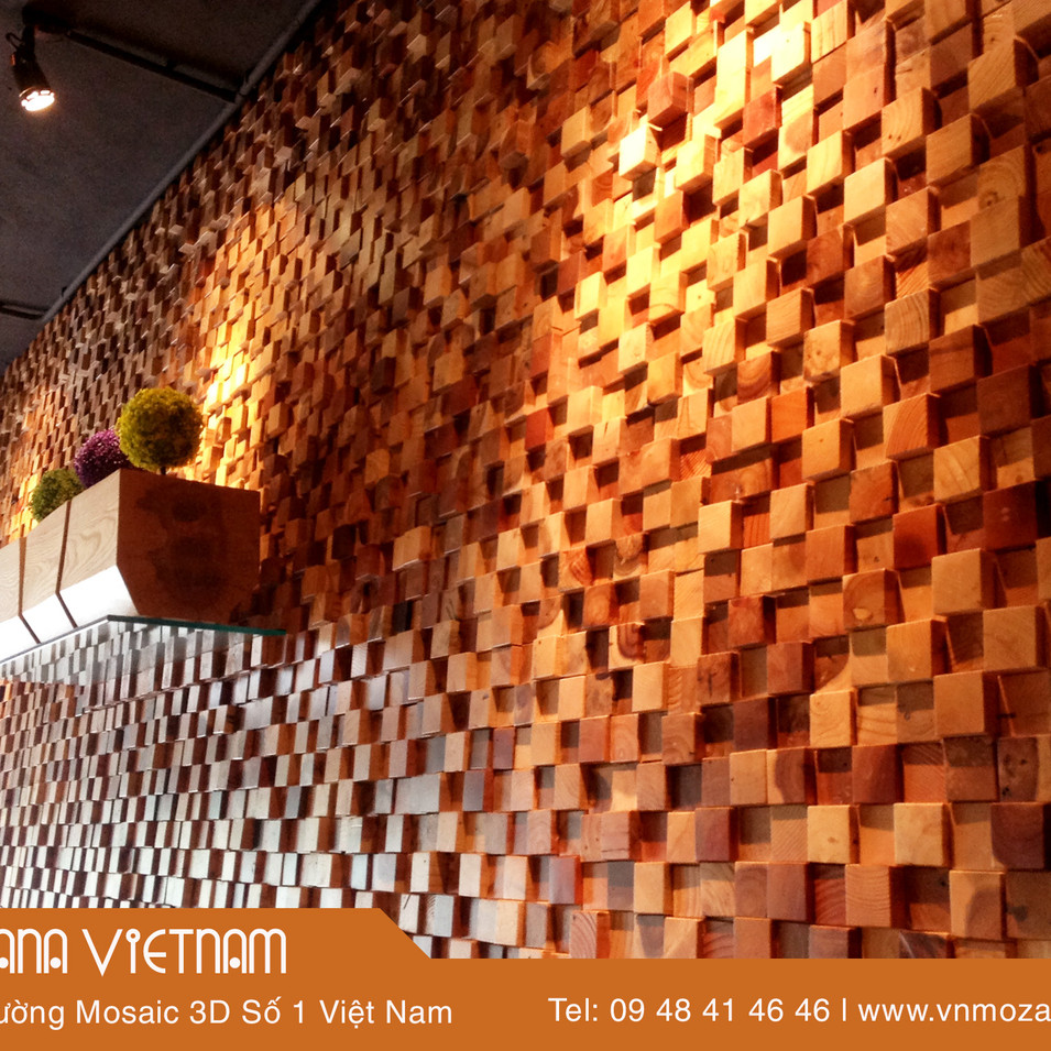 Gỗ ốp tường mosaic 3D gỗ tự nhiên