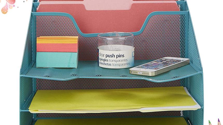 Khay đựng tài liệu để bàn văn phòng 5 ngăn đa năng lưới thép sơn tĩnh điện