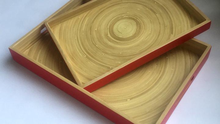 Khay uống trà 100% tre tự nhiên phong cách Nhật Bản - CN/Đỏ